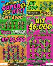 Image of Georgia Lottery scratch off GEORGIA'S SUPER HIT!.