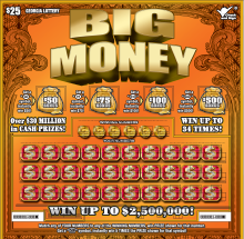 Image of Georgia Lottery scratch off BIG MONEY.