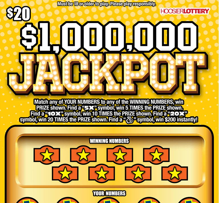 Image of Indiana Lottery scratch off $1,000,000 JACKPOT.