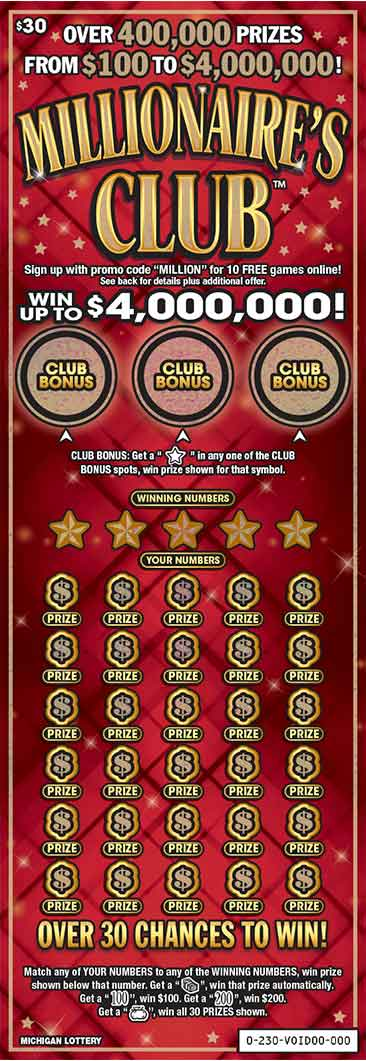 Image of Florida Lottery scratch off Millionaire's Club.