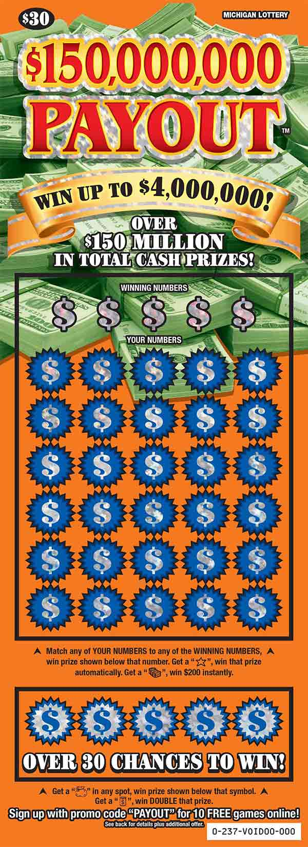 Image of Michigan Lottery scratch off $150,000,000 Payout.
