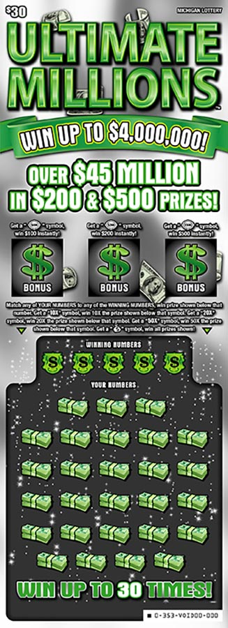 Image of Michigan Lottery scratch off Ultimate Millions.