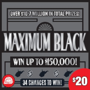Image of Florida Lottery scratch off MAXIMUM BLACK.